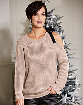 Cold Shoulder Jumper with Tie Detail