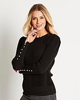 Pearl Button Sleeve Jumper