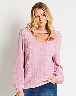 Balloon Sleeve Choker Jumper