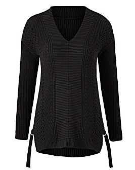 Petite V-Neck Textured Jumper