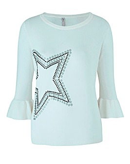 Star Print Fluted Sleeve Jumper