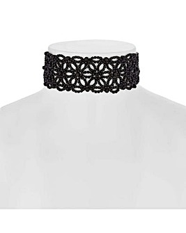 Mood black floral choker