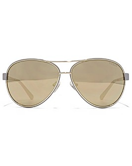 Guess Diamante Logo Aviator Sunglasses