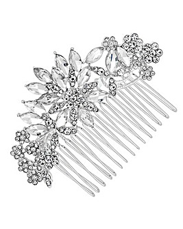 Mood Silver Crystal Leaf Hair Comb