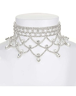 Mood Diamante Drape Choker