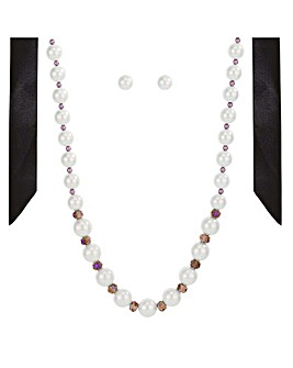 Mood Pearl And Bead Ribbon Jewellery Set