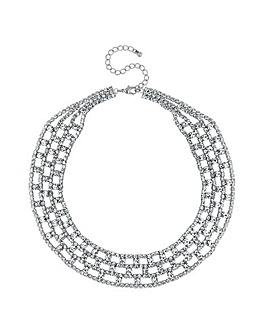 Mood Silver Diamante Collar Necklace