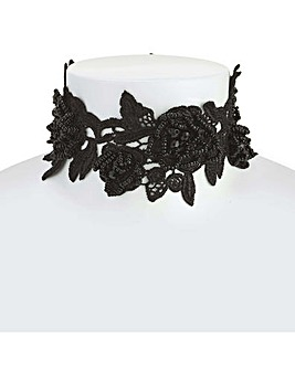 Mood Black Floral Lace Choker