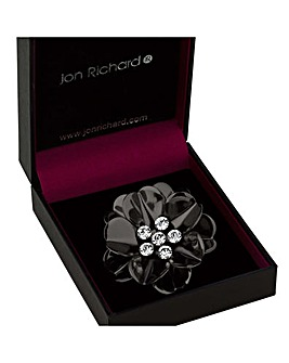 Jon Richard black flower brooch