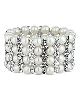 Jon Richard crystal bar pearl bracelet