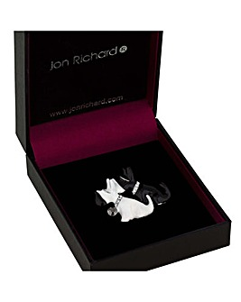 Jon Richard monochrome scotty dog brooch
