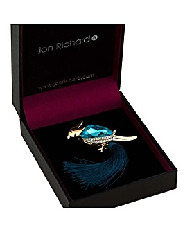 Jon Richard crystal parrot tassel brooch