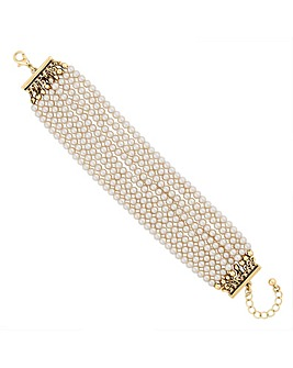 Jon Richard pearl multi row bracelet