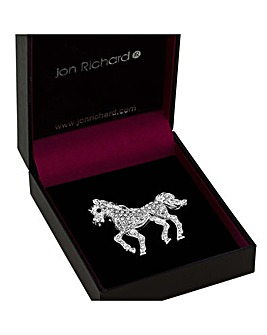 Jon Richard silver crystal horse brooch