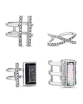 Mood Multi Shape Crystal Ring Set