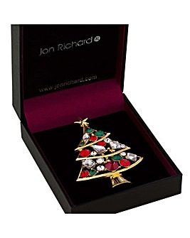 Jon Richard christmas tree brooch
