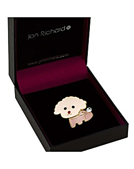 Jon Richard pink puppy brooch