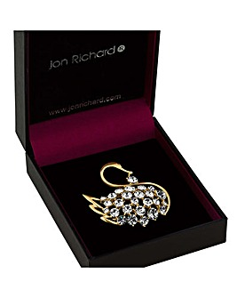 Jon Richard gold swan brooch
