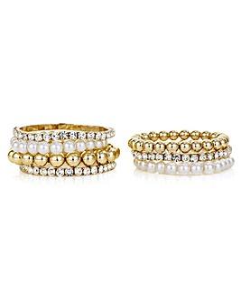 Mood Gold Pearl And Crystal Bracelet Set