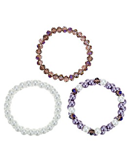Mood Purple Tonal Beaded Bracelet Set