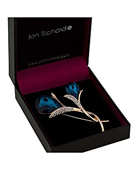 Jon Richard teal crystal tulip brooch