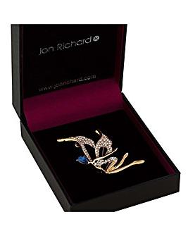 Jon Richard gold crystal fairy brooch