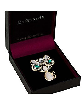 Jon Richard crystal cluster cat brooch
