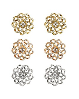 Mood Crystal Flower Earring Set