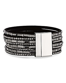 Mood Black Multi Row Crystal Bracelet