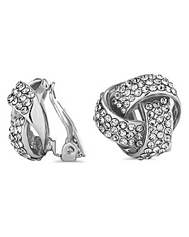 Jon Richard crystal knot clip on earring