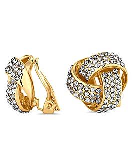 Jon Richard crystal knot clip on earring