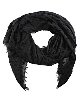 Armani Jeans Frayed Edge Logo Scarf