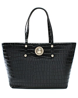 Versace Jeans Plaque Moc Croc Tote Bag