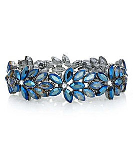 Mood Blue Crystal Floral Bracelet