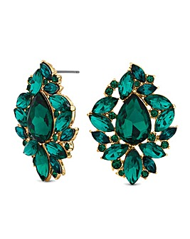 Mood Green Crystal Ornate Stud Earring
