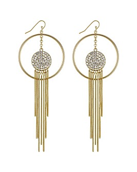 Mood Open Hoop Tassel Drop Earring