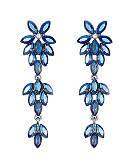 Mood Blue Crystal Floral Drop Earring