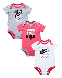 Nike Baby Girls Pack Of Three Bodysuits