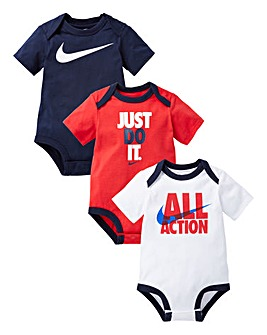 Nike Baby Boys Pack Of Three Bodysuits