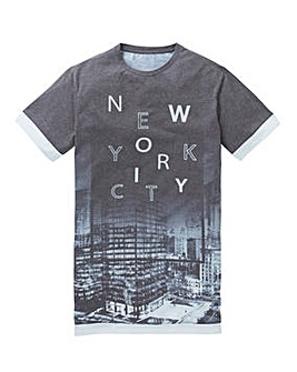 Label J Longline City Sub Print Tee