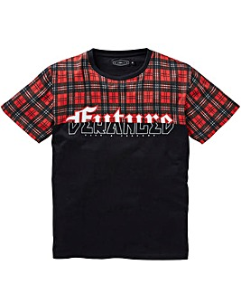 Label J Cut and Sew Tartan Tee Long