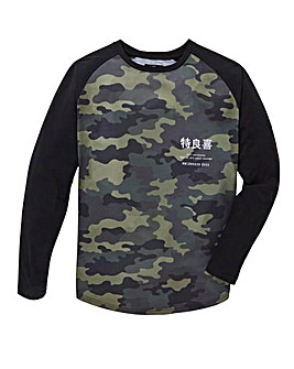 Label J Camo Print Baseball Tee Long