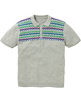 Label J Knitted Polo with Multi Stripe