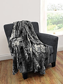 cascade home jackal faux fur throw
