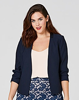 SATIN TRIM RUCHED SLEEVE BLAZER