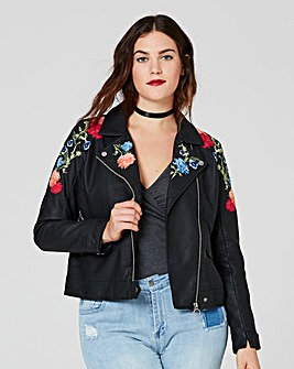Embroidered PU Biker Jacket