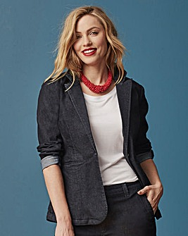 Split Button Sleeve Denim Suit Jacket