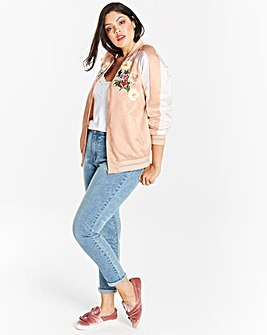 Embroidered Satin Bomber
