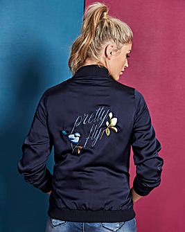 Satin Bomber with Embroidered Back