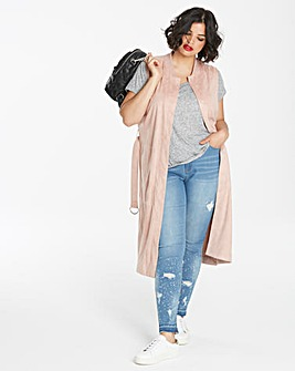 Suedette Sleeveless Bomber Mac